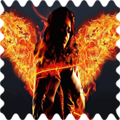 Girl with fiery wings Live WP icon