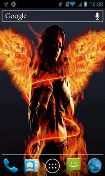 Girl with fiery wings Live WP poster
