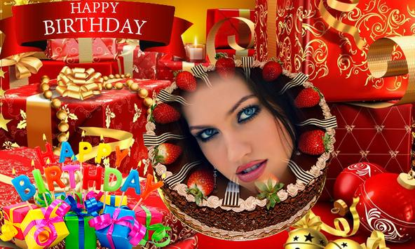 Photo on Birthday Cake – Cakes,Name & Photo Frame poster