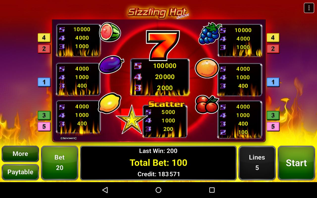 sizzling hot deluxe android cheats