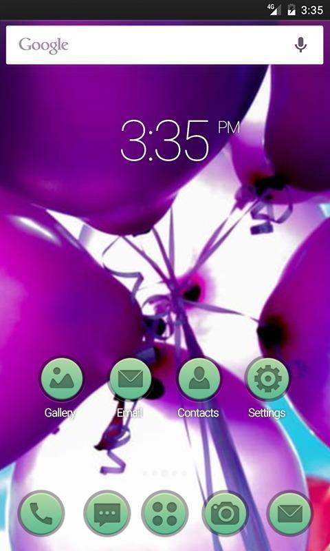 Purple Balloons Launcher Theme poster