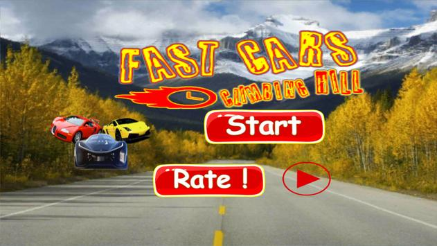 Fast Cars climbing hill poster