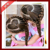 Hairstyle kids girl step by step icon