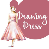 Drawing fashion dress icon