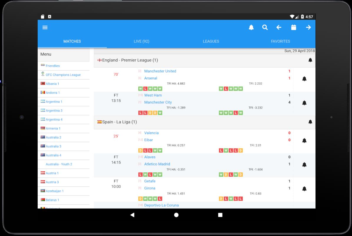 FcTables - predictions, livescore, football stats for Android - APK