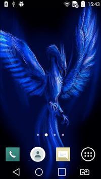 Blue neon eagle live wallpaper poster