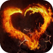 Fiery heart live wallpaper icon
