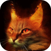 Fiery red cat live wallpaper icon