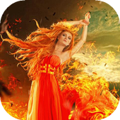 Flaming girl live wallpaper icon