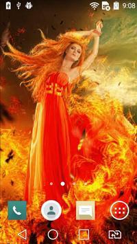 Flaming girl live wallpaper poster
