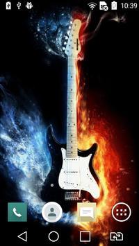 Fiery guitar live wallpaper poster