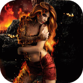 Witch on fire live wallpaper icon