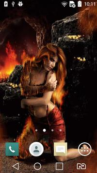 Witch on fire live wallpaper poster