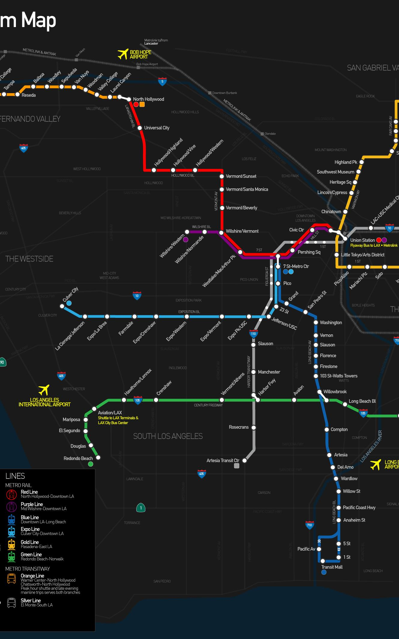 Los Angeles Metro Rail Map poster