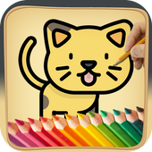 Coloring book for Kawaii icon