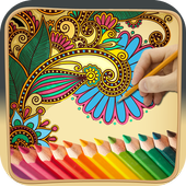 Coloring book for mehndi icon