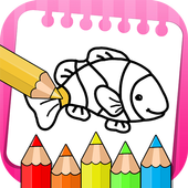 Fish Coloring Book & Drawing Book - kids Game icon