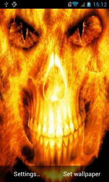 Skull in flames Live Wallpaper poster