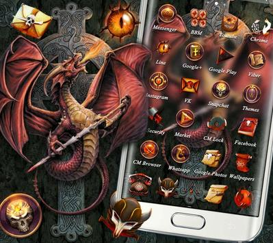 Fire Dragon Cross Sword Theme screenshot 1