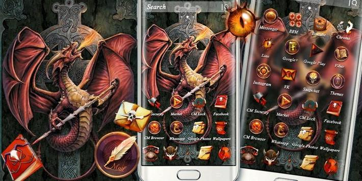 Fire Dragon Cross Sword Theme screenshot 3