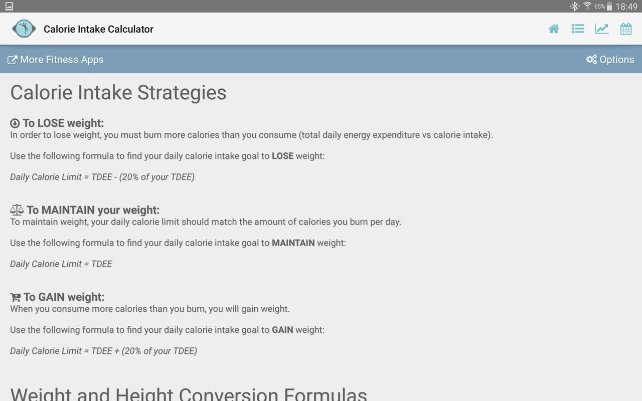 Calorie consumption calculator