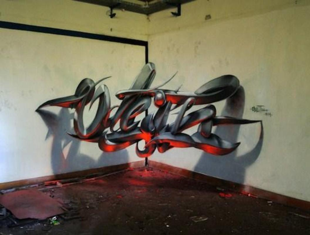 3d graffiti design poster