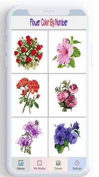 Flower Color By Number, flower coloring pages poster
