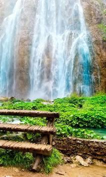 flowing waterfall wallpaper poster