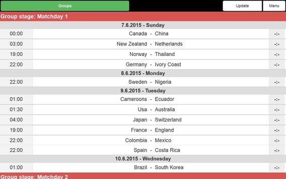 Women Football WC 2015 Schedu. screenshot 4