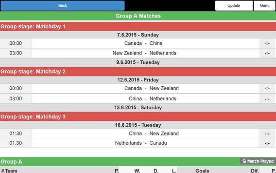 Women Football WC 2015 Schedu. screenshot 7