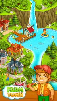 Farm Town: Happy village near small city and town poster