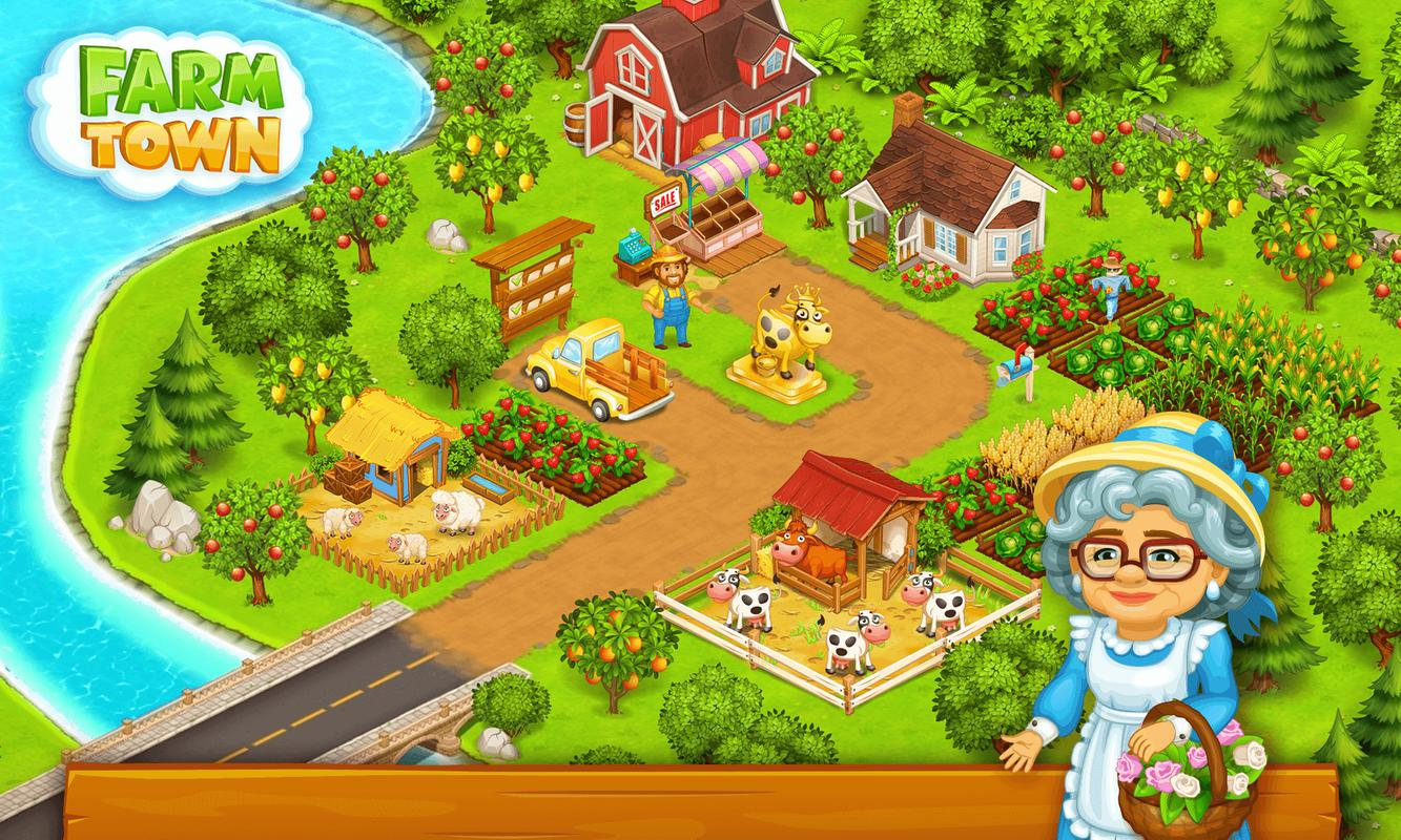 Farm Town Happy Farming Day Amp Food Farm Game City Apk