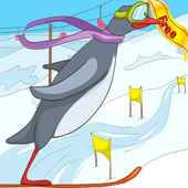 happy penguin: feet skiing icon