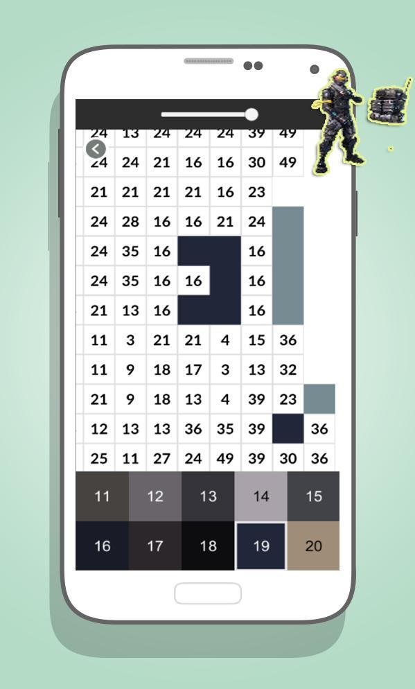 Fortnite Color By Number Fortnite Skin Pixel Art For