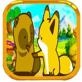 Raccoon fox and fox icon