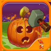 Halloween pumpkin smash icon