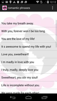 romantic phrases apk screenshot