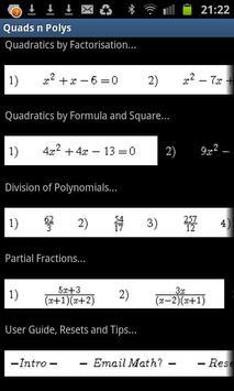 Quadratics & Partial Fractions screenshot 1