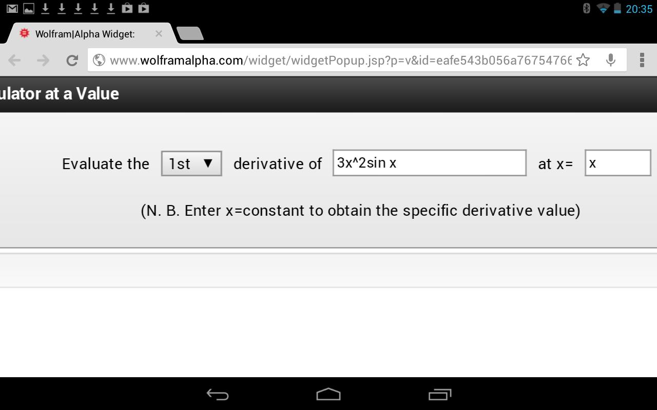 Derivative Calculator for Android - APK Download on evaluate indefinite integral with an e, evaluate the power, evaluate the limit,