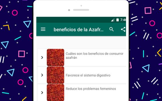 beneficios de la Azafrán screenshot 3