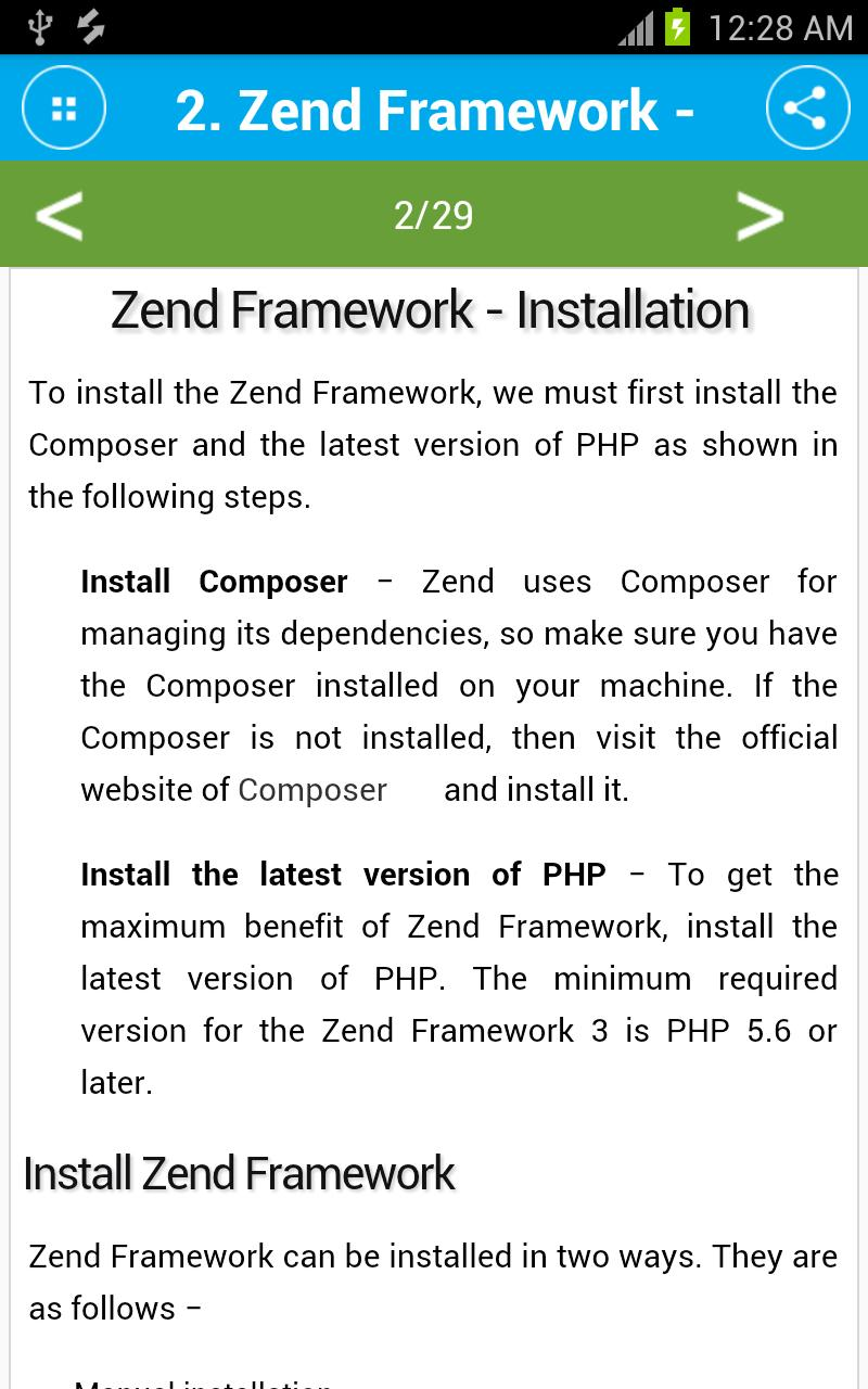 Free Zend Framework Tutorial for Android - APK Download