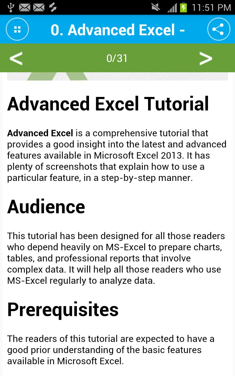 Free Advanced Excel Tutorial for Android - APK Download