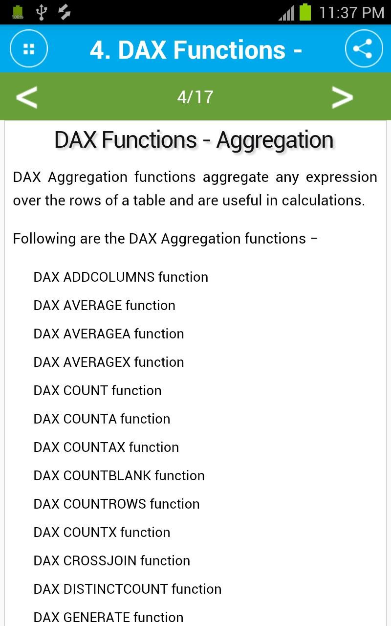 Learn DAX Functions for Android - APK Download
