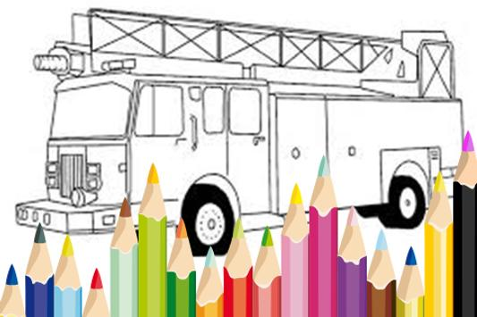 Fire Truck Siren Coloring Book poster