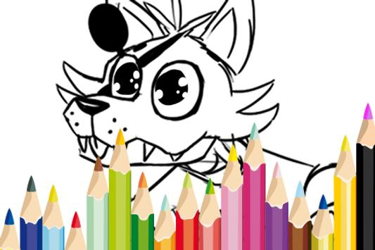 Foxy Coloring FNAF Paint poster