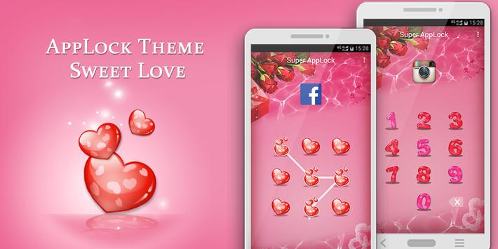applock theme valentine rose apk screenshot