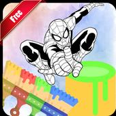 Coloring Book Spider Hero Man icon