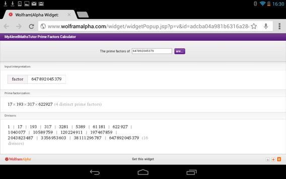 Prime Factors Calculator apk screenshot