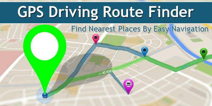 GPS Driving Route Finder - Near By Places on Maps poster
