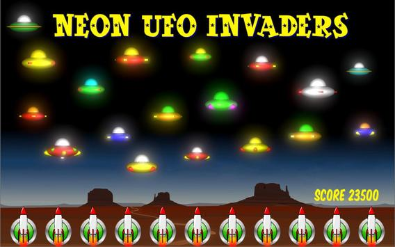 Neon UFO Invaders poster